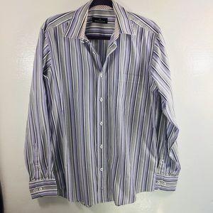 Bugatchi purple & white button down shirt m